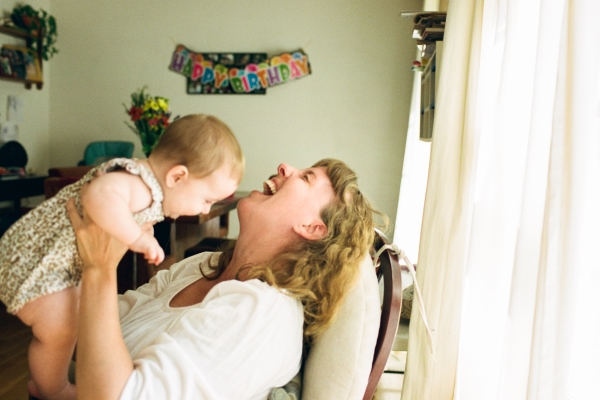 Jenny Corbett, a Silver Spring Doula, with her young daughter.