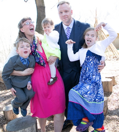 Silver Spring Doula's family making very silly faces